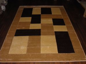 BLOCKS RANGE WOVEN RUGS HAND CARVED APROX 6X4FT 120X170CM BEIGE/BROWN GREAT RUGS